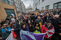 UCU members and their student supporters gather at the headquarters of the UCU to lobby for a rejection of the deal being offered by Universities UK to end the strike over pensions. 13-3-18