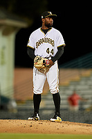 Bradenton Marauders relief pitcher Joel Cesar (44) during a Florida State League game against the Fort Myers Miracle on April 23, 2019 at LECOM Park in Bradenton, Florida.  Fort Myers defeated Bradenton 2-1.  (Mike Janes/Four Seam Images)