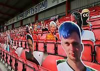 A general view of cardboard cut-out fans in the stands at Gresty Road, home of Crewe Alexandra<br /> <br /> Photographer Rich Linley/CameraSport<br /> <br /> The EFL Sky Bet League One - Crewe Alexandra v Blackpool - Saturday 17th October 2020 - Gresty Road - Crewe<br /> <br /> World Copyright © 2020 CameraSport. All rights reserved. 43 Linden Ave. Countesthorpe. Leicester. England. LE8 5PG - Tel: +44 (0) 116 277 4147 - admin@camerasport.com - www.camerasport.com