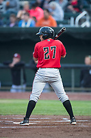 Billings Mustangs second baseman Dylan Harris (27) at bat during a Pioneer League game against the Idaho Falls Chukars at Melaleuca Field on August 22, 2018 in Idaho Falls, Idaho. The Idaho Falls Chukars defeated the Billings Mustangs by a score of 5-3. (Zachary Lucy/Four Seam Images)