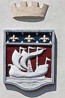 Europe/France/Aquitaine/64/Pyrénées-Atlantiques/Pays-Basque/Saint-Jean-de-Luz: Détail Blason Boulevard du Commandant Passicot à la façade de l'Hôtel de Paris