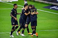 LOS ANGELES, CA - SEPTEMBER 23: Dejan Jakovic #5 of LAFC scores his goal and celebrates with team mates Eduard Atuesta #20 & Bradley Wright-Phillips #66 during a game between Vancouver Whitecaps and Los Angeles FC at Banc of California Stadium on September 23, 2020 in Los Angeles, California.