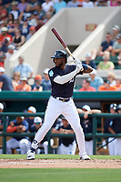 Detroit Tigers designated hitter Niko Goodrum (28) at bat during a Grapefruit League Spring Training game against the New York Yankees on February 27, 2019 at Publix Field at Joker Marchant Stadium in Lakeland, Florida.  Yankees defeated the Tigers 10-4 as the game was called after the sixth inning due to rain.  (Mike Janes/Four Seam Images)