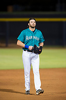 AZL Mariners first baseman Caleb Eldridge (16) walks off the field between innings of the game against the AZL Royals on July 29, 2017 at Peoria Stadium in Peoria, Arizona. AZL Royals defeated the AZL Mariners 11-4. (Zachary Lucy/Four Seam Images)