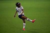 ORLANDO CITY, FL - FEBRUARY 18: Margaret Purce #20 watches her pass during a game between Canada and USWNT at Exploria stadium on February 18, 2021 in Orlando City, Florida.