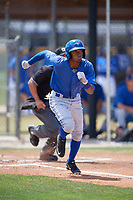 Toronto Blue Jays left fielder Edward Olivares (3) runs to first base during a minor league Spring Training game against the New York Yankees on March 30, 2017 at the Englebert Complex in Dunedin, Florida.  (Mike Janes/Four Seam Images)