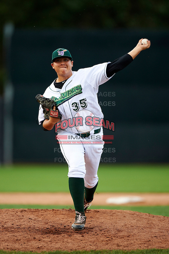 Jamestown Jammers pitcher Beau Wright #35 during game two of a NY-Penn League doubleheader against the Batavia Muckdogs at Russell Diethrick Park on September 5, 2012 in Jamestown, New York.  Jamestown defeated Batavia 3-2.  (Mike Janes/Four Seam Images)