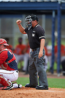 Umpire Scott Molloy during a game between the GCL Astros and GCL Nationals on August 14, 2016 at the Carl Barger Baseball Complex in Viera, Florida.  GCL Nationals defeated GCL Astros 8-6.  (Mike Janes/Four Seam Images)