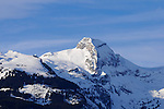 Schweizer Berge, Alvier Kette, im Rheintal des Kanton St. Gallen von Schaan aus gesehen. Swiss mountains Alvier masif in the Rhine Valley seen from Schaan, Liechtenstein. Margelkopf 2163 m