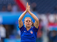 PARIS,  - JUNE 28: Kelley O'Hara #5 salutes the crowd during a game between France and USWNT at Parc des Princes on June 28, 2019 in Paris, France.
