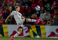 COLLEGE PARK, MD - SEPTEMBER 3: Maryland University defender Nick Richardson (22) collects a high ball during a game between George Mason University and University of Maryland at Ludwig Field on September 3, 2021 in College Park, Maryland.