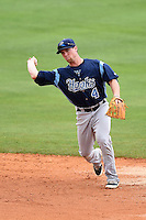 Corpus Christi Hooks second baseman Nolan Fontana (4) during a game against the NW Arkansas Naturals on May 26, 2014 at Arvest Ballpark in Springdale, Arkansas.  NW Arkansas defeated Corpus Christi 5-3.  (Mike Janes/Four Seam Images)