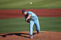 Old Dominion Monarchs relief pitcher Jason Hartline (38) in action against the Charlotte 49ers at Hayes Stadium on April 25, 2021 in Charlotte, North Carolina. (Brian Westerholt/Four Seam Images)
