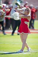 STANFORD, CA - September 15, 2018: Cheerleader at Stanford Stadium. The Stanford Cardinal defeated UC Davis, 30-10.
