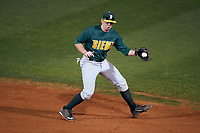 Siena Saints second baseman Jordan Bishop (4) during a game against the Stetson Hatters on February 23, 2016 at Melching Field at Conrad Park in DeLand, Florida.  Stetson defeated Siena 5-3.  (Mike Janes/Four Seam Images)