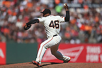 SAN FRANCISCO, CA - AUGUST 14:  Santiago Casilla #46 of the San Francisco Giants pitches against the Baltimore Orioles during the game at AT&T Park on Sunday, August 14, 2016 in San Francisco, California. Photo by Brad Mangin