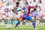 FC Barcelona's Clement Lenglet (r) and Getafe CF's Enes Unal during La Liga match. August 29, 2021. (ALTERPHOTOS/Acero)