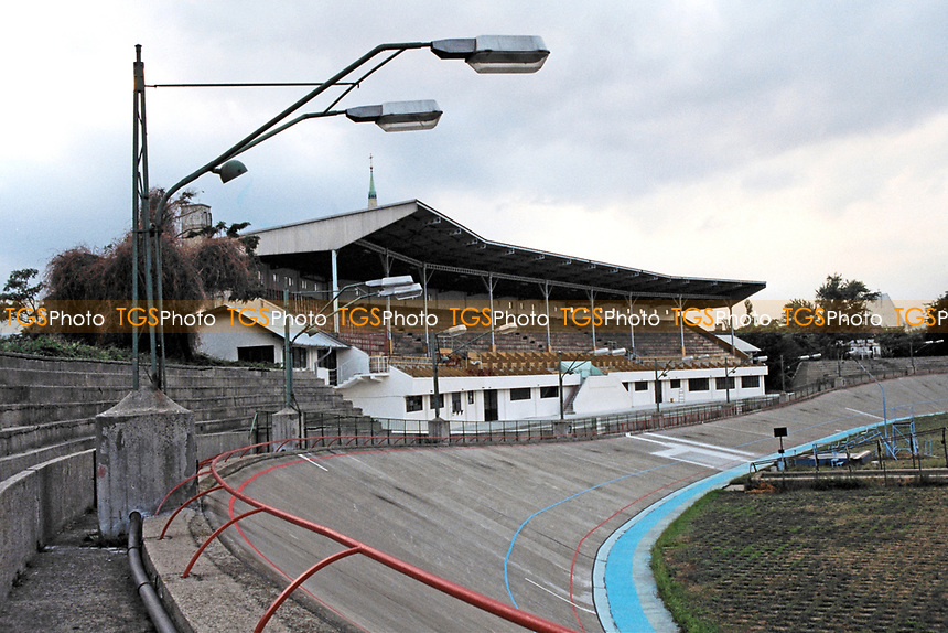 The main grandstand at Millenaris Sporttelep velodrome in Budapest. Opened in 1896, the stadium has been used for cycling events and football matches.