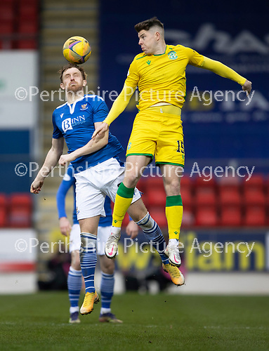 St Johnstone v Hibs …06.03.21   McDiarmid Park   SPFL<br />Liam Craig and Kevin Nisbet<br />Picture by Graeme Hart.<br />Copyright Perthshire Picture Agency<br />Tel: 01738 623350  Mobile: 07990 594431