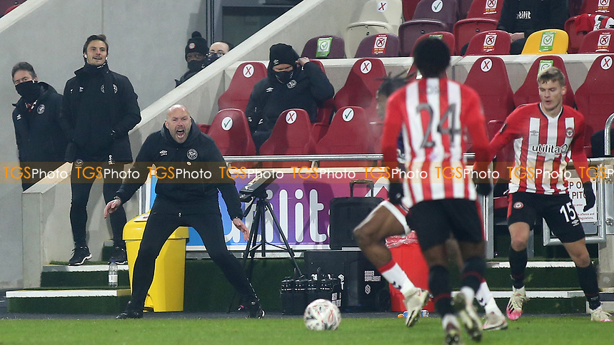 Brentford B Head Coach, Neil MacFarlane stood in for Manager, Thomas Frank, who recently tested positive for Covid-19 and is isolating at home during Brentford vs Middlesbrough, Emirates FA Cup Football at the Brentford Community Stadium on 9th January 2021