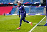 LE HAVRE, FRANCE - APRIL 13: Megan Rapinoe #15 of the United States warming up before a game between France and USWNT at Stade Oceane on April 13, 2021 in Le Havre, France.