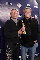 Montreal (Qc) Canada - March 9, 2008 -<br /> Richard Desjardins (L), Robert Monderie (R)<br /> Winners JUTRA - Best Documentary for LE PEUPLE INVISIBLE,<br /> at the 10th Jutras Gala held in Montreal.<br /> <br /> photo :(c)  Images Distribution