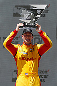 Ryan Hunter-Reay, Andretti Autosport Honda celebrates on the podium