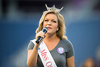 Orlando, FL - Saturday July 16, 2016: National Anthem Performer prior to a regular season National Women's Soccer League (NWSL) match between the Orlando Pride and the Chicago Red Stars at Camping World Stadium.