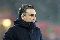 Swansea manager Carlos Carvalhal shouts instructions to his players during the Emirates FA Cup match between Swansea and Wolverhampton Wanderers at the Liberty Stadium, Swansea, Wales, UK. Wednesday 17 January 2018