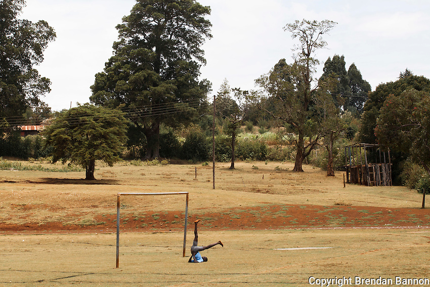 An athlete stretching at the track in Iten, Kenya.