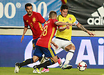Spain's Jordi Alba (c) and Pedro Rodriguez (l) and Colombia's James Rodriguez during international friendly match. June 7,2017.(ALTERPHOTOS/Acero)