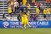 26 JUNE 2010:  Guillermo Barros Schelotto of the Columbus Crew (7) and Gino Padula celebrate Guillermo Barros Schelotto's goal during MLS soccer game between DC United vs Columbus Crew at Crew Stadium in Columbus, Ohio on May 29, 2010. Galaxy defeated the Crew 2-0.