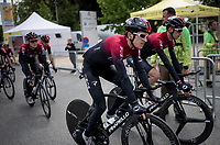 defending Tour champion Geraint Thomas (GBR/Ineos) after finishing the morning course reconnaissance <br /> <br /> Stage 2 (TTT): Brussels to Brussels(BEL/28km) <br /> 106th Tour de France 2019 (2.UWT)<br /> <br /> ©kramon