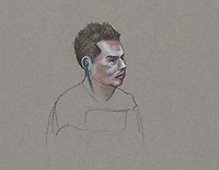 FILE IMAGE - Luka Magnotta comparution at Montreal Justice Hall, October 16, 2014.<br /> <br /> Luka Rocco Magnotta is a Canadian former pornographic actor and model who killed and dismembered Lin Jun, a Chinese international student, then mailed his limbs to elementary schools and federal political party offices.<br /> <br /> Drawing : Agence Quebec Presse - Atalante