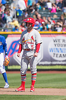 Greg Garcia (5) of the Memphis Redbirds during the game against the Omaha Storm Chasers in Pacific Coast League action at Werner Park on April 22, 2015 in Papillion, Nebraska.  (Stephen Smith/Four Seam Images)