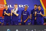 Liga ACB-ENDESA 2020/2021. Game: 26.<br /> FC Barcelona vs Casademont Zaragoza: 107-88.<br /> Victor Claver, Rolands Smits, Adam Hanga, Sergi Martinez & Pierre Oriola.