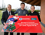 07.03.2019 Rangers press conference: manager Seven Gerrard wih Paul McGuiness from Skills Development Scotland and Rangers WFC manager Amy McDonald