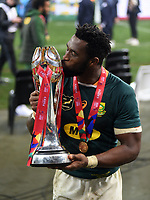 South Africa captain Siya Kolisi lifts the Castle Lager Series trophy after the Springboks beat the Lions 19-16 in the third test to win the series 2-1.<br /> British & Irish Lions v South Africa,  3rd Test, Cape Town Stadium, Cape Town, South Africa,  Saturday 7th August 2021. <br /> Please credit: FOTOSPORT/DAVID GIBSON