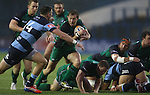 Blues wing Alex Cuthbert closes in on Connacht scrum half Kieron Marmion.<br /> RaboDirect Pro 12<br /> Cardiff Blues v Connacht<br /> Cardiff Arms Park<br /> 13.09.13<br /> <br /> ©Steve Pope-SPORTINGWALES