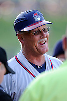 Manager Randy Ingle (12) of the Rome Braves in a game against the Greenville Drive on Friday, June 12, 2015, at Fluor Field at the West End in Greenville, South Carolina. Greenville won, 10-8. (Tom Priddy/Four Seam Images)