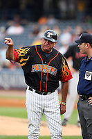 June 12th 2008:  Manager Larry Parrish of the Toledo Mudhens, Class-AAA affiliate of the Detroit Tigers, argues with first base umpire Kevin Causey disputing a home run by Mike Hessman during a game at Fifth Third Field in Toledo, OH.  Photo by:  Mike Janes/Four Seam Images