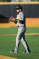 Missouri Tigers second baseman Dillon Everett (2) on defense against the Wake Forest Demon Deacons at Wake Forest Baseball Park on February 22, 2014 in Winston-Salem, North Carolina.  The Demon Deacons defeated the Tigers 1-0.  (Brian Westerholt/Four Seam Images)