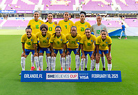 ORLANDO, FL - FEBRUARY 18: Brazil poses for their starting XI photo before a game between Argentina and Brazil at Exploria Stadium on February 18, 2021 in Orlando, Florida.