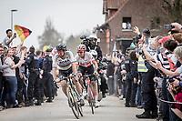 World Champion Peter Sagan (SVK/Bora-Hansgrohe) setting the pace as race leader at Carrefour de l'arbre ahead of Silvan Dillier (SUI/AG2R-La Mondiale)<br /> <br /> 116th Paris-Roubaix (1.UWT)<br /> 1 Day Race. Compiègne - Roubaix (257km)