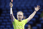 USA's John McEnroe reacts after winning a point during the HSBC Tennis Cup series at First Niagara Center in Buffalo, NY on October 22, 2011