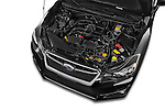 Car stock 2015 Subaru Impreza premium 4 Door Sedan engine high angle detail view