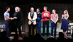 """Michael Hsu Rosen, Harvey Fierstein, Mercedes Ruehl, Moises Kaufman, Michael Urie, Ward Horton, Jack DiFalco and Roxanna Hope Radja  during the Broadway Opening Night Curtain Call for """"Torch Song"""" at the Hayes Theater on November 1, 2018 in New York City."""