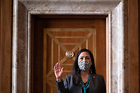 United States Representative Deb Haaland (Democrat of New Mexico), is sworn in during the Senate Committee on Energy and Natural Resources hearing on her nomination to be Interior Secretary on Capitol Hill in Washington, DC, on February 23, 2021.<br /> Credit: Jim Watson / Pool via CNP /MediaPunch