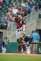 Arkansas Travelers catcher Joe DeCarlo (7) signals during a Texas League game between the Northwest Arkansas Naturals and the Arkansas Travelers on May 30, 2019 at Arvest Ballpark in Springdale, Arkansas. (Jason Ivester/Four Seam Images)