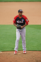 World Team pitcher Luis Perdomo (36) in action during the MLB All-Star Futures Game on July 12, 2015 at Great American Ball Park in Cincinnati, Ohio.  (Mike Janes/Four Seam Images)